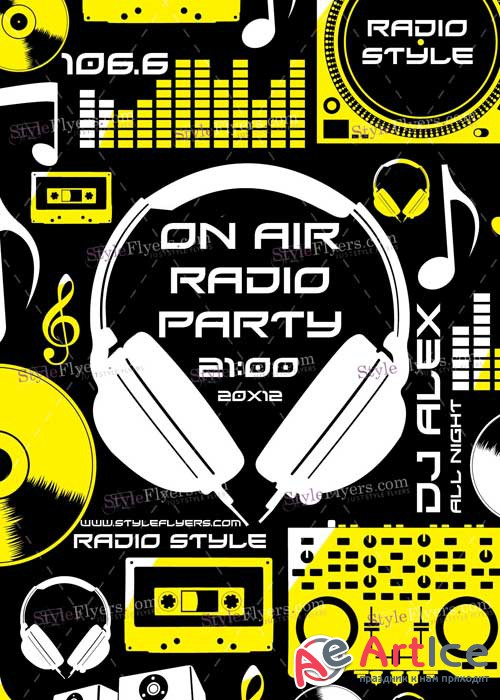 On Air Radio Party PSD V7 Flyer Template