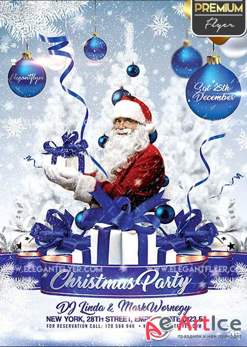 Christmas Party Invitation Flyer PSD V3 Template + Facebook Cover