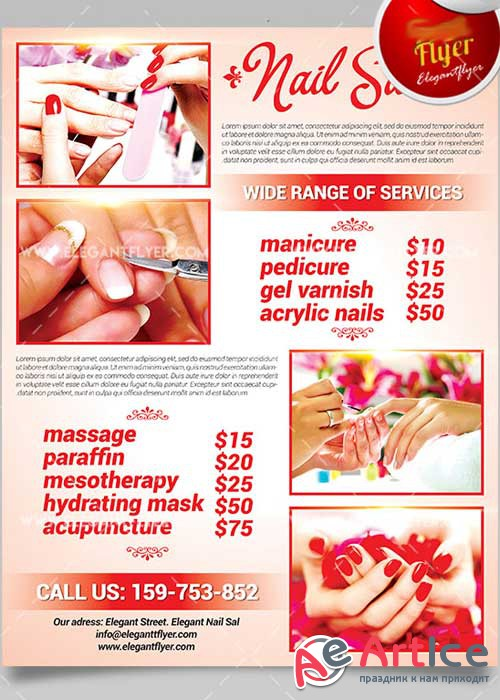 Nail Salon Flyer PSD V4 Template + Facebook Cover