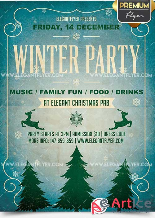 Winter Party Flyer PSD V11 Template + Facebook Cover