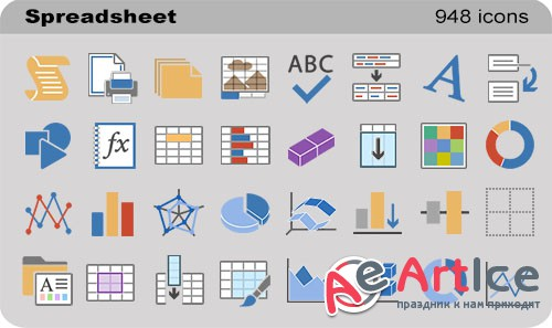 Spreadsheet Set - Pure Flat Toolbar Stock Icons