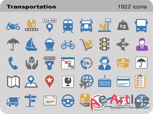Transportation Set - Pure Flat Toolbar Stock Icons