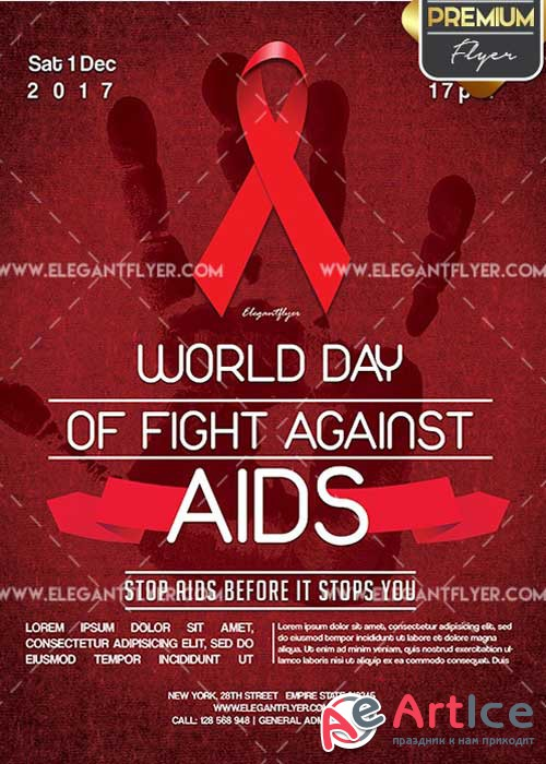 World day of fight against AIDS Flyer PSD V2 Template + Facebook Cover