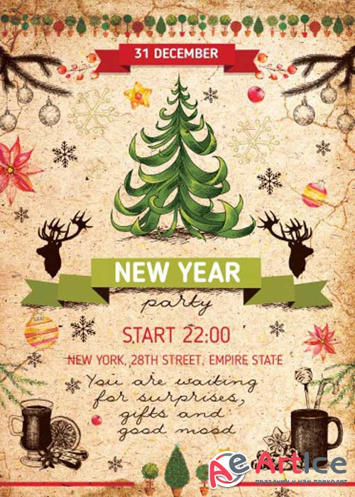 New Year Party PSD V8 Flyer Template with Facebook cover
