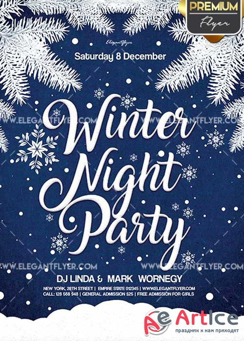 Winter Night Party Flyer PSD V7 Template + Facebook Cover