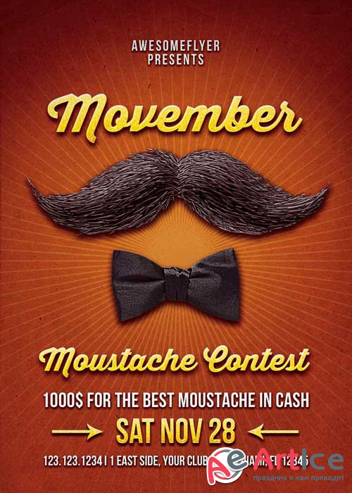 Movember Mustache Contest Flyer V5 Template