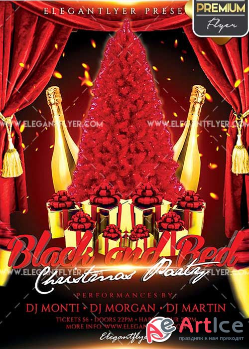 Black and Red Christmas Party Flyer PSD V2 Template + Facebook Cover