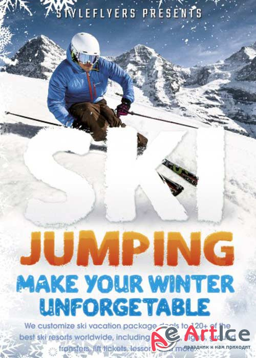 Ski Jumping PSD V6 Flyer Template with Facebook Cover