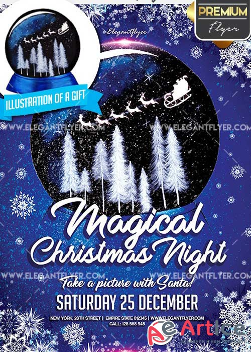 Magical Christmas Night Flyer PSD V3 Template + Facebook Cover