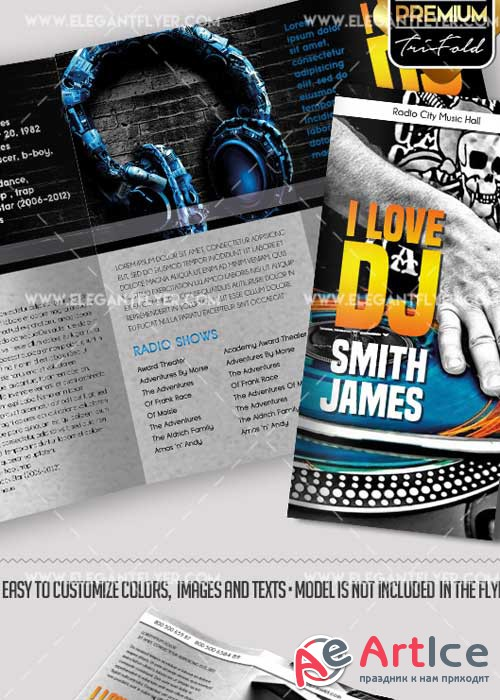 DJ Press Kit V1 Premium Tri-Fold PSD Brochure Template