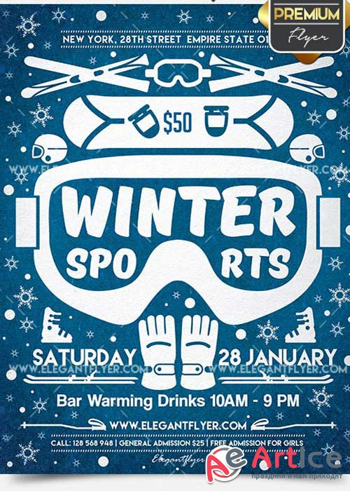 Winter Sports V7 Flyer PSD Template + Facebook Cover