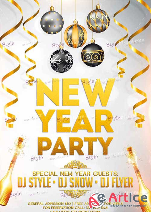 New Year Party PSD V8 Flyer Template