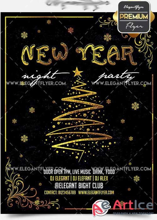 New Year Night Flyer PSD V15 Template + Facebook Cover