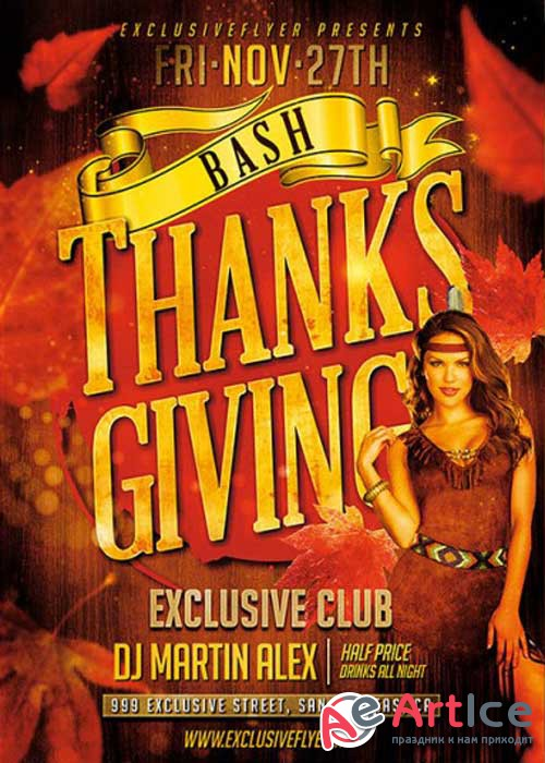 Thanksgiving Bash PSD V2 Premium Flyer Template + Facebook Cover