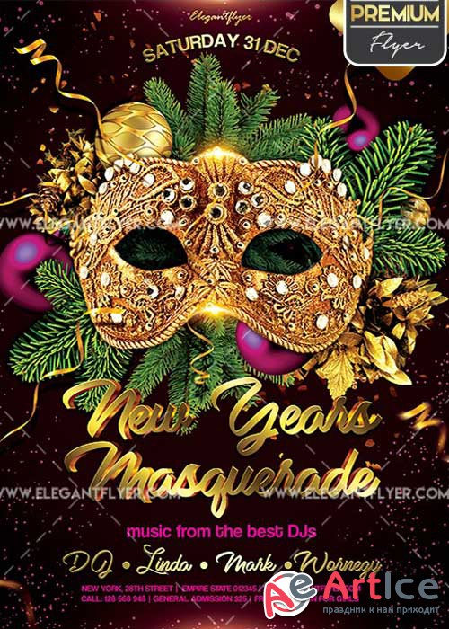 New Year's Masquerade PSD V7 Flyer PSD Template + Facebook Cover