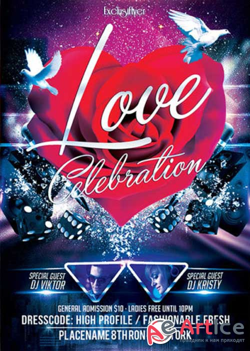 Love Celebration Club and Party Flyer PSD V2 Template