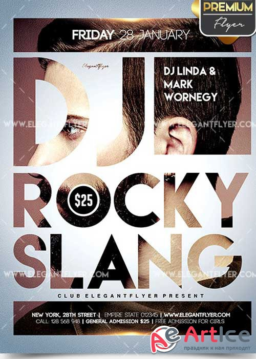 DJ Rocky Slang Flyer PSD V12 Template + Facebook Cover