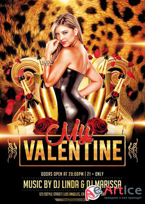 My Valentine PSD V5 Flyer Template with Facebook Cover