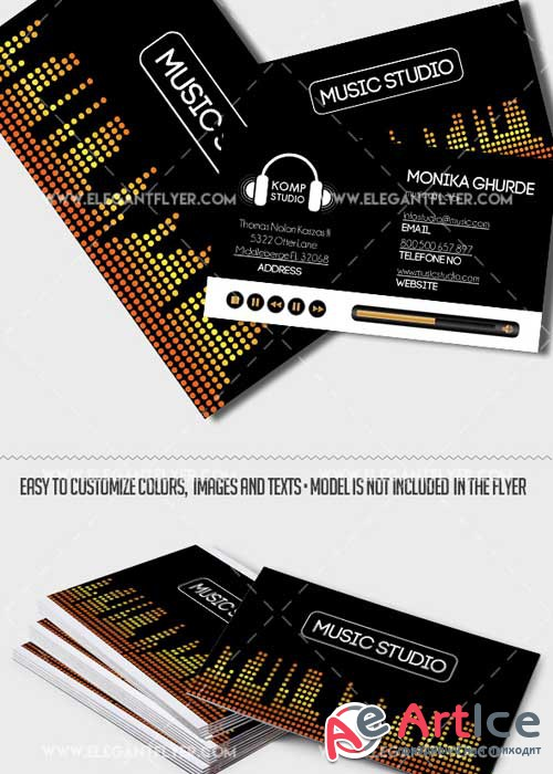Music Production Premium Business card PSD V1 Template