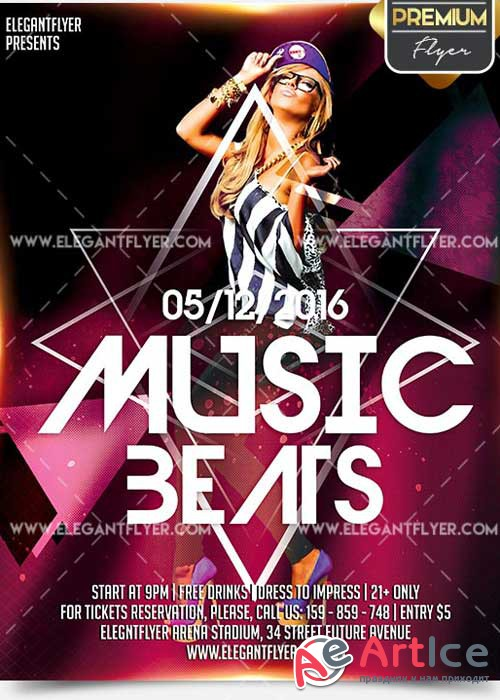 Music Beats Flyer PSD V8 Template + Facebook Cover