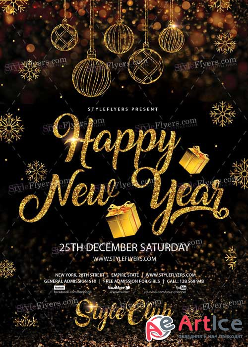 Happy New Year PSD V22 Flyer Template