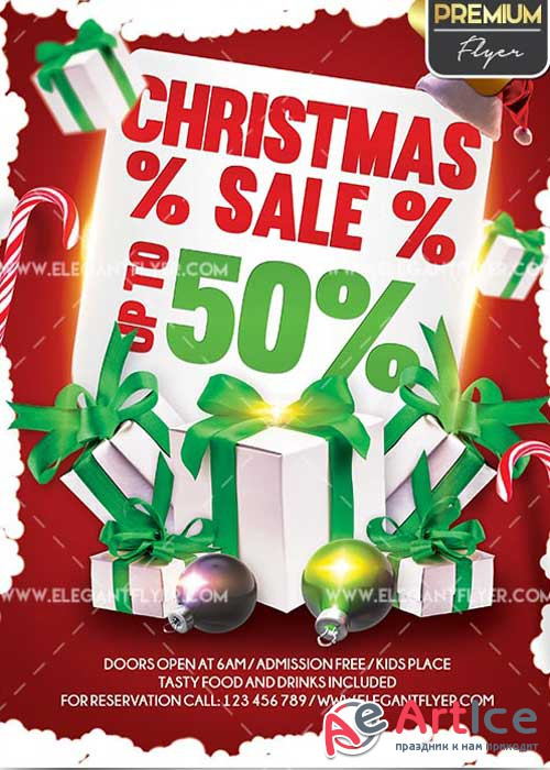 Christmas Sale Flyer PSD V17 Template + Facebook Cover
