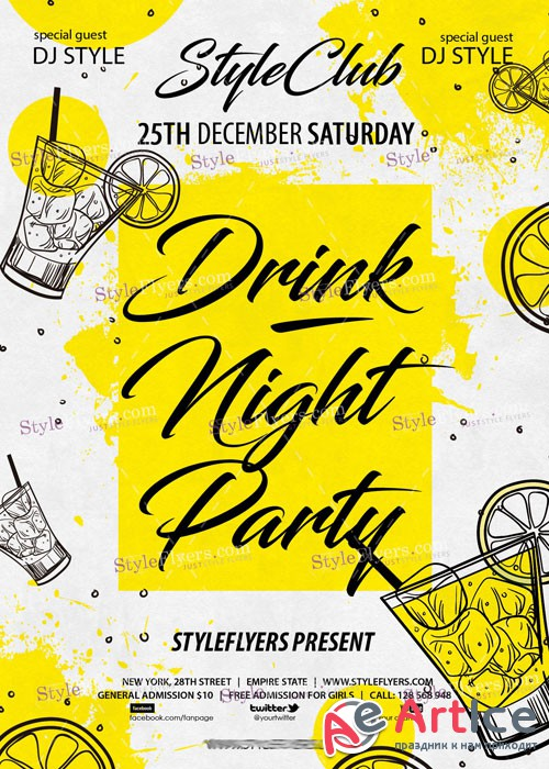 Drink Night Party PSD V15 Flyer Template