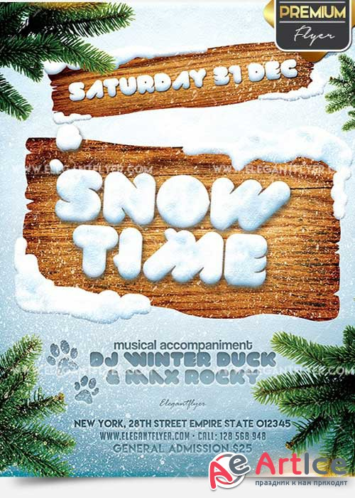 Snow Time Flyer PSD V5 Template + Facebook Cover