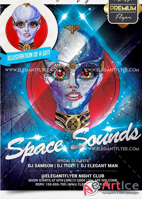 Space Sounds Flyer PSD V5 Template + Facebook Cover