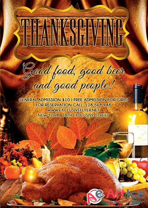 Thanksgiving Evening V17 Premium Flyer Template + Facebook Cover