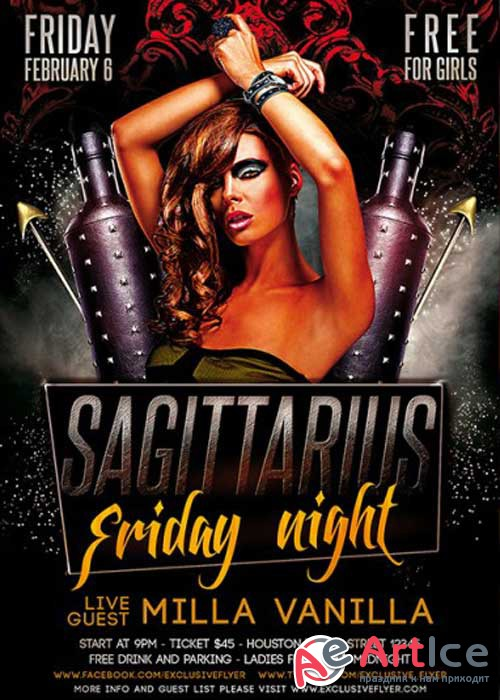 Sagittarius Friday Night V11 Premium Flyer Template