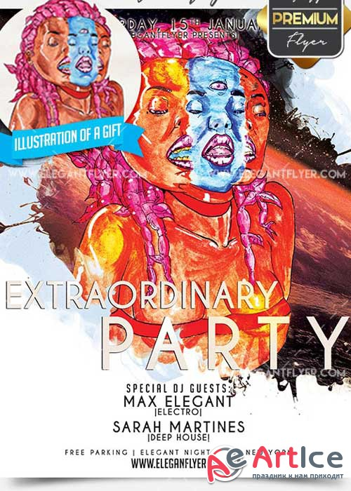 Extraordinary Party Flyer PSD V9 Template + Facebook Cover