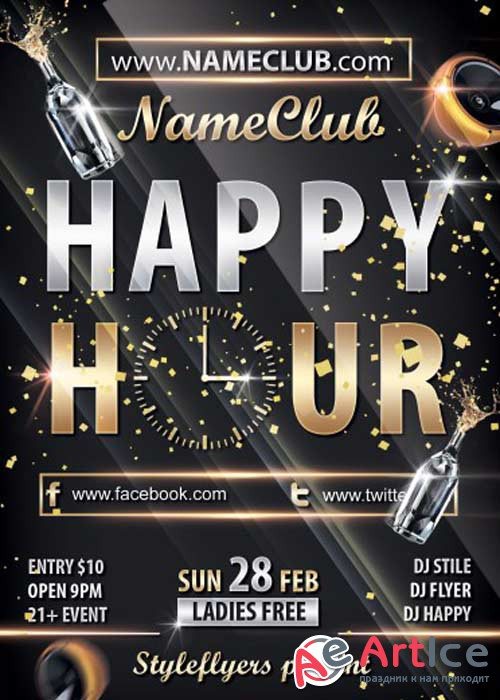 Happy Hour PSD V10 Flyer Template with Facebook Cover