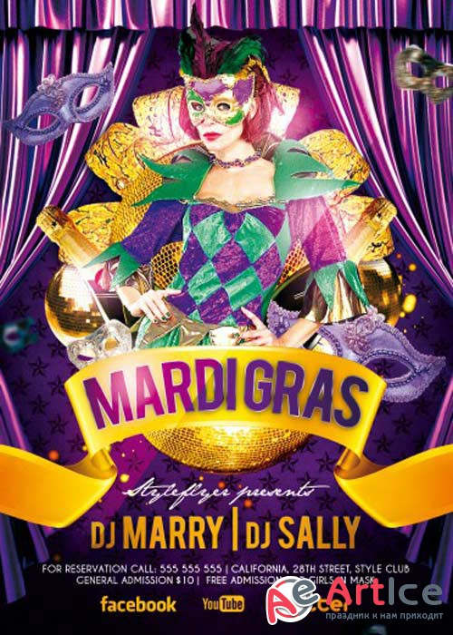 Mardi Gras PSD V19 Flyer Template with Facebook Cover