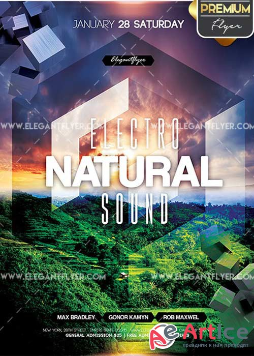 Electro Natural Sound Flyer PSD V6 Template + Facebook Cover