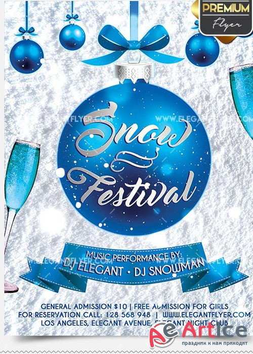 Snow Festival Flyer PSD V8 Template + Facebook Cover