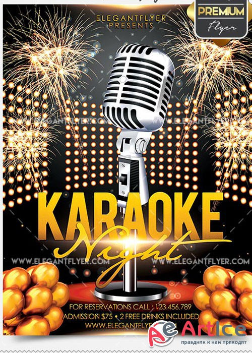 Karaoke – Flyer PSD V12 Template + Facebook Cover