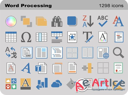 Word Processing Set - Pure Flat Toolbar Stock Icons