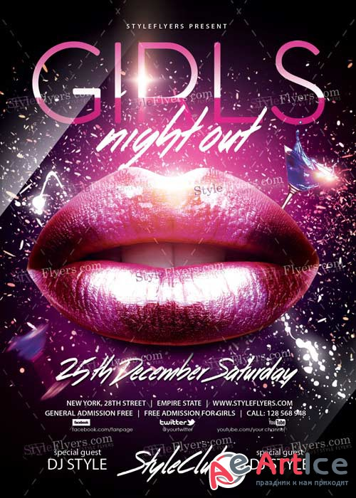 Girls Night Out PSD V12 Flyer Template