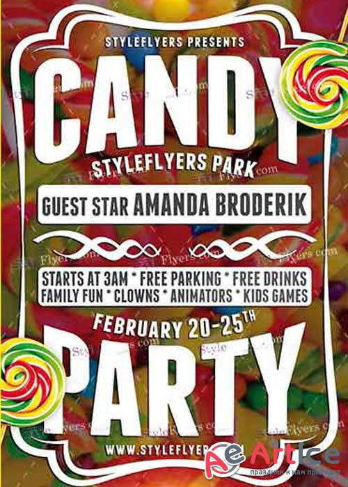 Candy Party PSD V4 Flyer Template
