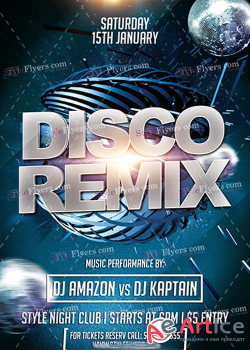 Disco Remix PSD V5 Flyer Template