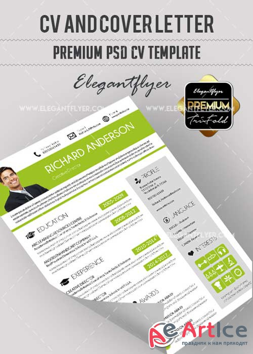 CV Premium CV V13 and Cover Letter PSD Template