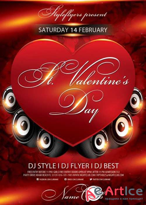 St. Valentine's Day PSD V7 Flyer Template with Facebook Cover