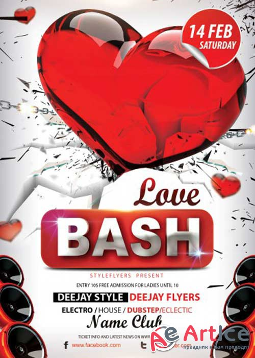 Love Bash PSD V4 Flyer Template with Facebook Cover