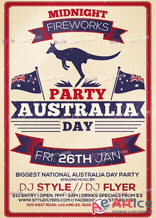 Australia Day Party PSD V7 Flyer Template