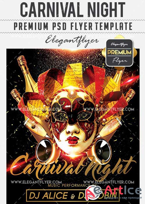 Carnival Night Flyer PSD V12 Template + Facebook Cover