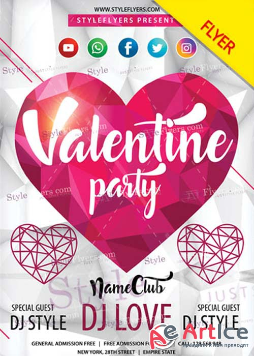 Valentine Party PSD V14 Flyer Template
