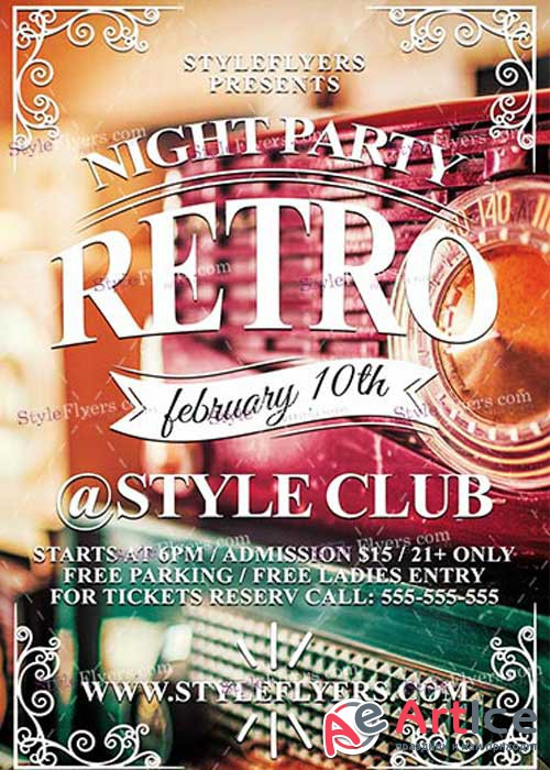 Retro Night Party PSD V8 Flyer Template