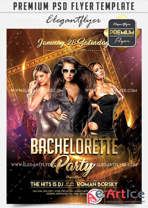 Bachelorette Party Flyer PSD V02 Template + Facebook Cover
