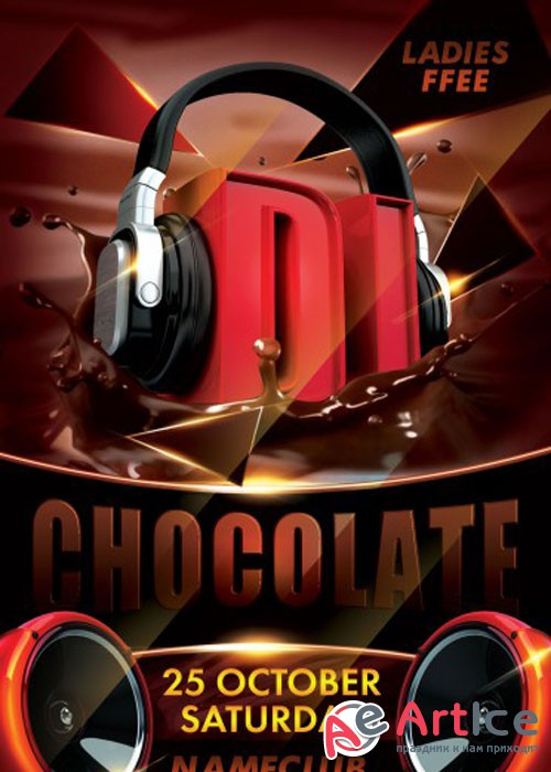 Dj Chocolate PSD V17 Flyer Template with Facebook Cover